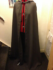 long dark grey  hooded cloak / lined hood no sleeves ( c delux long )