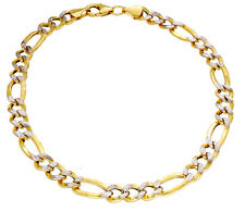 "Men's 1/10th 10K Yellow Gold Figaro 9"" Bracelet 6mm Two Tone Pave Hollow Link"