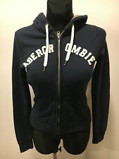 Abercrombie & Fitch Black Zippered Cotton Polyester Hoodie Jumper Women Size XS