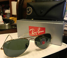 NEW Ray-Ban Rayban Aviator Pilot Polarized Sunglasses RB3025 001/58 Italy Gold