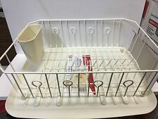 LARGE RUBBERMAID KITCHEN DISH DRAINER RACK SET & SLOPED TRAY SIDE DRAIN BISK MAT