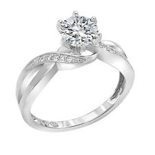 Engagement Ring Solitaire 14K White Gold 1.10 Ct Round Brilliant Diamond Cut