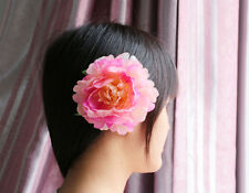 Big NEW Romantic Peony Silk Hair Accessory Flower Hairpin Hair Clip For Prom