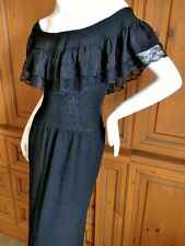 Adolfo 1970's Black Knit Off the Shoulder Ruffle Column Gown
