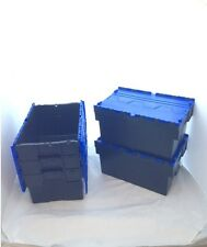 10 New Black/Blue Lid Removal Storage Crates Box Container 54L