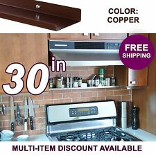 30in x 3.5in ultraLEDGE Copper Metal Floating Over-the-Range Shelf / Spice Rack