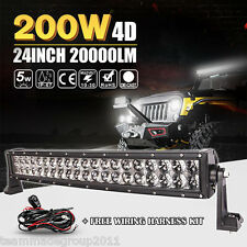 4D+ Cree 24inch 200W Curved LED Work Light Bar Spot Flood Combo 4WD Boat Offroad
