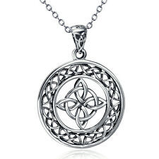 """Eternity Celtic Knot Cross Good Luck 925 Sterling Silver Pendant Necklace 18"""""""
