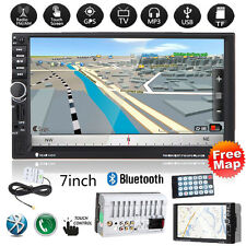 "7"" 2DIN Car GPS Navi MP3 Player Touch Bluetooth FM Radio Stereo USB TF AUX +Map"
