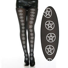 Black White Pentagram Pattern Pentacle Stars Witch Supernatural Tights Pantyhose