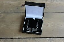 Vintage 18 inch Sterling Silver Marcasite and Onyx Necklace