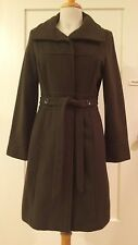 Mossimo Wool Blend Trench Long Coat Jacket Belted Dark Moss Greenish Brown M