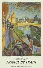 ORIGINAL Vintage Railroad Travel Poster PARIS FRANCE Rive Gauche Bouquinistes
