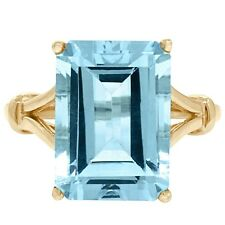 Natural 6.23ct Blue Topaz 9K 9ct 375 Solid Gold Ring - Bravo Jewellery