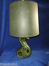 VINTAGE ART POTTERY TABLE LAMP-SWAN SHAPED-DEEP GREEN-GREEN FIBERGLASS SHADE