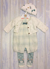 Baby Girls Newborn 4 Piece Outfit Romper Cardigan Tights Hat Newborn New & Used
