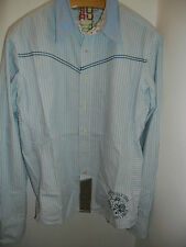 COTTON SHIRT CAMICIA COTONE AZZURRA CELESTE BLUE GURU SLIM FIT TG.L