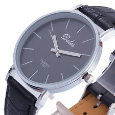 FASHION CASUAL ANALOG QUARTZ CLASSIC HOUR DIAL Times PU LEATHER MEN WRIST WATCH