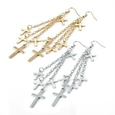 2 PAIRS OF MULTI CROSS CRUCIFIX DROP CHAIN LINKS DANGLE EARRINGS GOLD & SILVER.