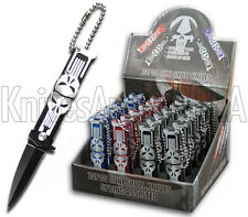 24 Piece Mini Punisher Skull Spring Assisted Pocket Knife Keychain Blade Display