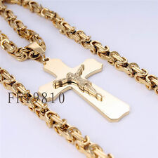 5mm Gold Men Stainless Steel Cross Pendant Necklace Byzantine Box Chain 22inch