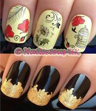 NAIL ART SET #61. VINTAGE CAGE/POPPYS WATER TRANSFERS/DECAL/STICKERS & GOLD LEAF