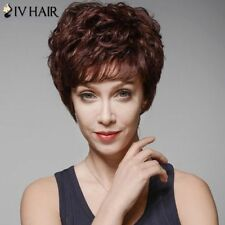 100% Real Hair! Brown Women's Skilful Curly Human Hair Full Bang Short Wig