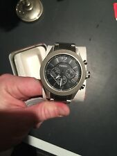 New Fossil BQ2107IE Chronograph Stainless Steel Mens Black Dial Band Watch