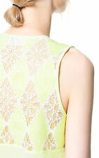 ZARA YELLOW FLORAL LACE BACK DRAPED BLOUSE SHIRT TOP S 8 10!