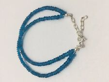 natural neon Apatite faceted Roundelle bracelet 3-3.5mm 92.5SilverLock beadstone