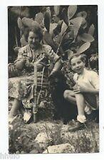 BM440 Carte Photo vintage card RPPC Femme woman enfant chien dog