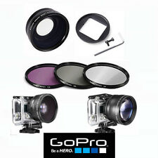 WIDE ANGLE LENS + UV FILTER +CPL FILTER+FLD FILTER FOR GOPRO HERO4 SILVER BLACK