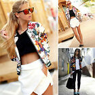 Sexy Ladies Zipper Coat Biker Bomber Retro Jacket Crop Tops Casual Blazer Suit
