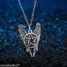 Supernatural necklace pentagram angel wings vintage pendant jewelry