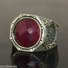 Unique Artisan Design Handmade 925 Solid Sterling Silver Genuine Ruby Men Ring