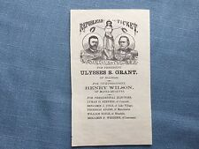 1872 Republican Presidential Ticket for Ulysses S. Grant and Henry Wilson