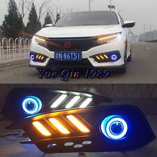 2pcs White LED DRL Blue Angel Eyes Fog Lamp Lights kit For Honda Civic 10th 2016