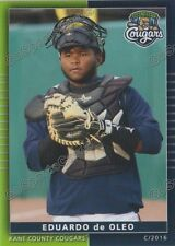 2016 Kane County Cougars Eduardo de Oleo RC Rookie Diamondbacks