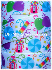 1.5 CANDYLAND CANDIES CANDY GUMBALLS GUMDROPS GROSGRAIN RIBBON 4 HAIRBOW BOW