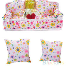 SALE! MINI FURNITURE FLOWER SOFA COUCH WITH 2 CUSHIONS FOR BARBIE DOLL HOUSE DIY