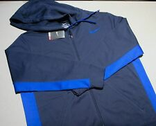 NIKE MEN SWEATSHIRT HOODY LRG NAVY BLUE NWT 613619 ZIP UP THERMAFIT 888409403291