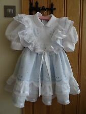 Girls dress white blue embroidered cotton Christening Bridesmaid Party 3-4-5 yrs