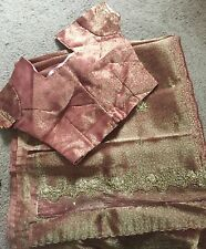 Bollywood Indian Pakistani Vintage Hand Beaded Saree Georgette Silk With Golden