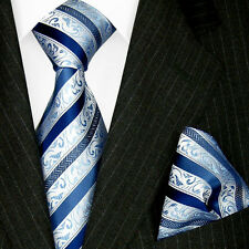 84323 LORENZO CANA - Authentic Set Blue Silver Tie and Hanky Stripes 100% Silk