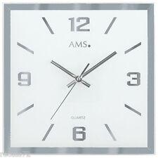 AMS 9324 Wanduhr Quarz, facettiertes und bedrucktes Spiegelglas
