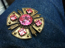 RARE Vintage Brooch Pin SIGNED DODDS Glass Rhinestone GOLD TONE ALL PINK STONES!
