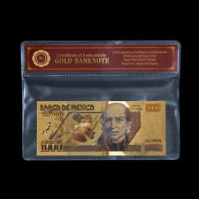 WR Mexico Gold Banknote 1000 Pesos Gold Plated Note Uncirculated In PVC Frame