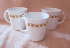 3 CORNING Coffee Mugs ~ D Handle ~ Butterfly Gold