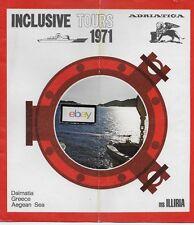 ADRIATICA LINE M.S. ILLIRIA 1971 CRUISES DALMATIA-GREECE-AGEAN SEA BROCHURE