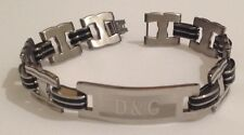gourmette bracelet stainless steel argent noir plaque inscription filigrane 5059